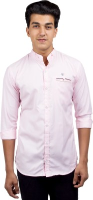 El Figo Men's Solid Casual Pink Shirt