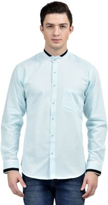 Future Plus Men's Self Design Casual Blue Shirt