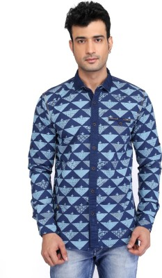 Glabrous Men,s Printed Casual Blue Shirt