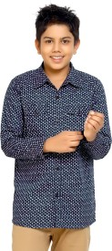 Kick Start Boys Printed Casual Blue Shirt