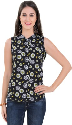Tantra Women's Floral Print Casual Black Shirt