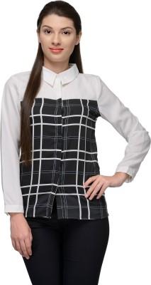 Vemero Women's Checkered Formal White Shirt
