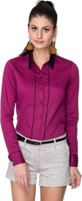 Neburu Women's Solid Casual Purple Shirt