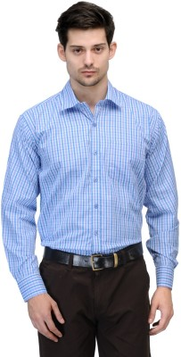 Vicbono Men's Checkered Formal Light Blue Shirt
