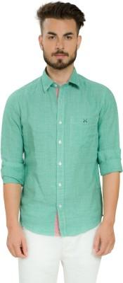 Club X Men's Checkered Casual Linen Light Green, White Shirt