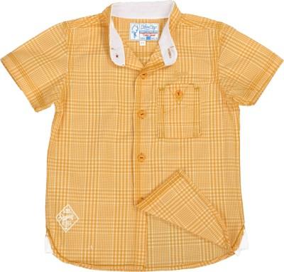 Biker Boys Boy's Checkered Casual Yellow Shirt