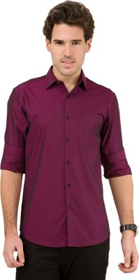 Black Coffee Men's Solid Casual Pink Shirt