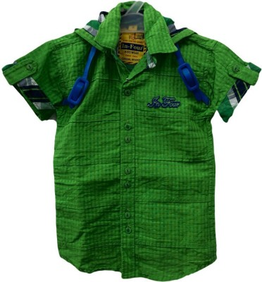 Angel Kids Boy's Solid Party Green, Green Shirt