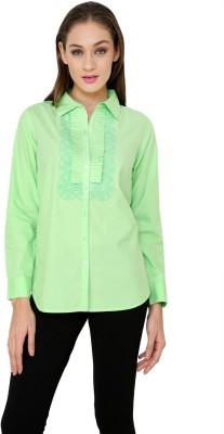 Rena Love Women's Solid Casual Light Green Shirt