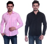 Calibro Men's Solid Formal Pink, Black S...