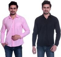 Calibro Formal Shirts (Men's) - Calibro Men's Solid Formal Pink, Black Shirt(Pack of 2)