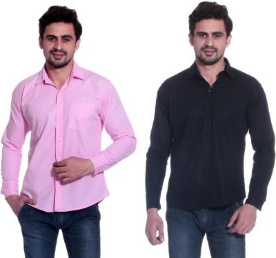 Calibro Men's Solid Formal Pink, Black Shirt