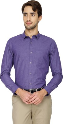 Cotton Power Men's Solid Formal Purple Shirt