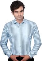 Aaduki Formal Shirts (Men's) - Aaduki Men's Striped Formal Blue Shirt