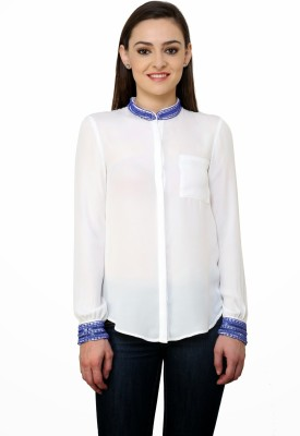 Rena Love Women's Embellished Party White, Blue Shirt