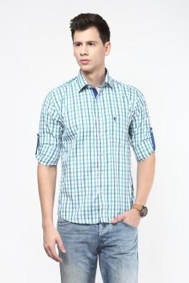 Remo Men's Checkered Casual Green Shirt