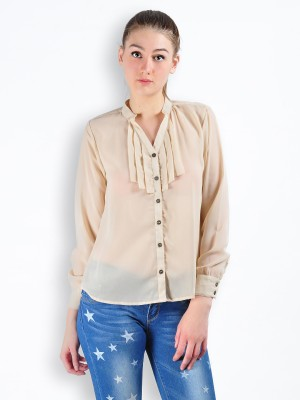 MySin Women's Self Design Party Beige Shirt