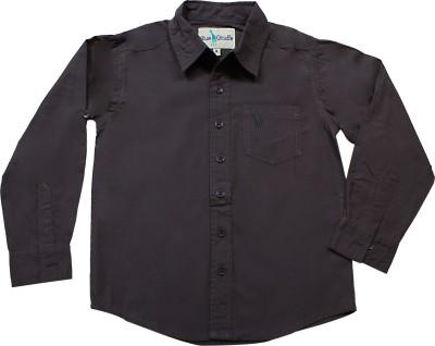 Blue Giraffe Boy's Solid Casual Black Shirt