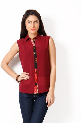 Hermosear Women's Floral Print Casual Maroon, Black Shirt