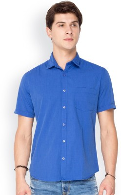 Mode Manor Men's Solid Casual Blue Shirt