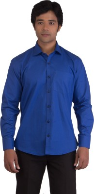 BearBerry Men's Solid Casual Blue Shirt