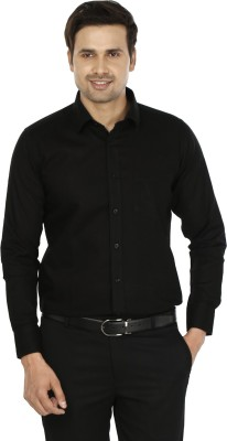 Jainish Men's Solid Formal Black Shirt