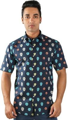 Just Differ Men's Self Design Formal Dark Blue Shirt