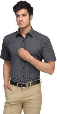 Vicbono Men's Striped Formal Black Shirt