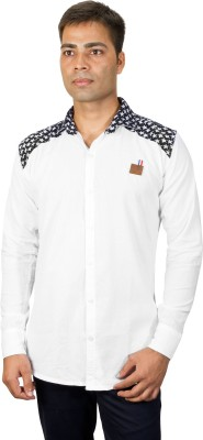 Phashion Town Men's Solid Casual White Shirt