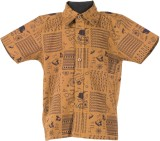 Le Luxe Boys Printed Casual Yellow Shirt