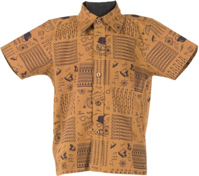 Le Luxe Boy's Printed Casual Yellow Shirt