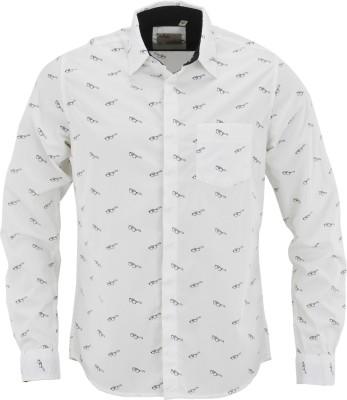 Aady Jones Men,s Printed Casual White Shirt