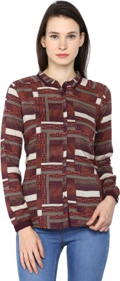 Arrow Womens Printed Casual Brown Shirt