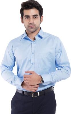 Mild Kleren Men's Self Design Formal Blue Shirt