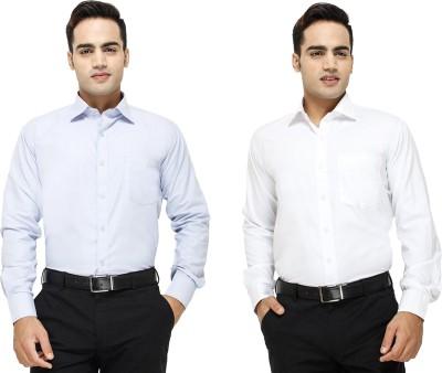 Yuva Men's Solid Formal Light Blue, White Shirt