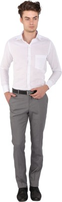 Magson Men's Solid Formal, Party Linen White Shirt