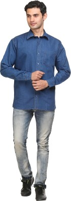FX Jeans Co Men's Solid Casual Denim Blue Shirt