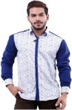 LaMode Men's Solid Casual Blue Shirt