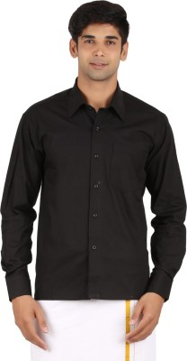 MEENAVISION Men's Solid Festive, Formal, Wedding Black Shirt