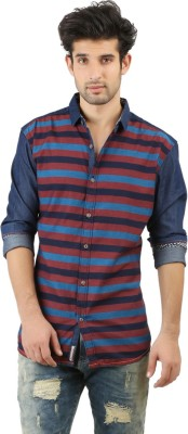 ZAC Men's Striped Casual Brown, Dark Blue Shirt