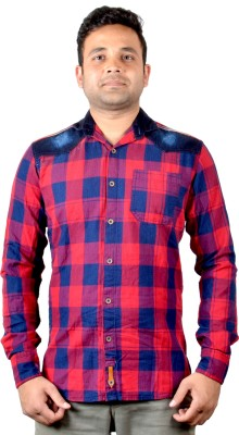 KEF Men's Checkered Casual Red, Blue Shirt
