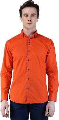 Magnoguy Men's Self Design Casual Orange Shirt