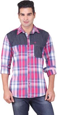 Alamurit Men's Checkered Casual Purple Shirt