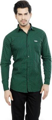 Fashion Stylus Men's Checkered Casual Green Shirt