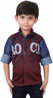 Ice Blue Boy's Graphic Print Casual Maroon Shirt
