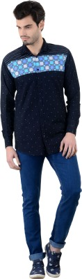 Piccolo Clothings Men's Printed Casual Blue Shirt