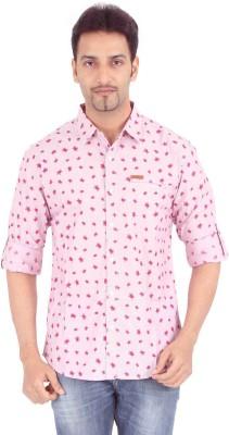 Spykar Men's Printed Casual Pink Shirt