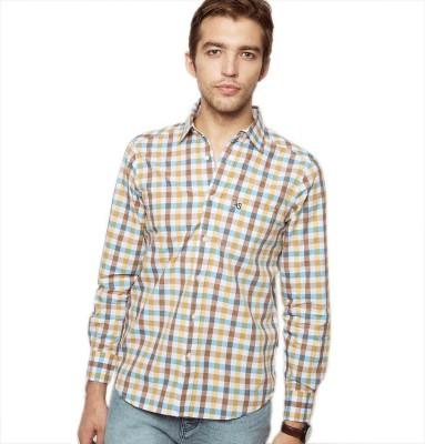 American Swan Men's Checkered Casual Brown Shirt