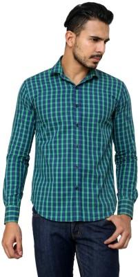 99 Hunts Men's Checkered Casual Green Shirt