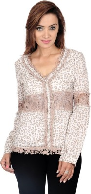 Virago Women's Animal Print Casual White Shirt